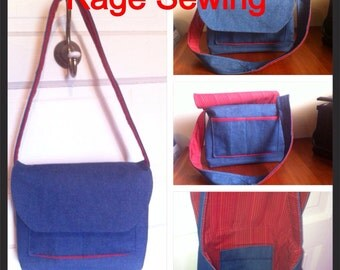 Denim Messenger Style Shoulder Bag