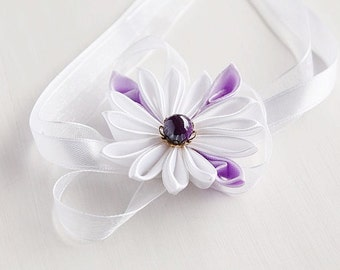 Flower Wrist Corsage, Kanzashi Bracelet, Bridal Corsage, Wedding Corsage, Flower Girl Corsage, White Flower Corsage, Wrist Corsage Bracelet