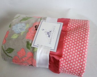 Romance Floral in Gray, Coral, Green and Baby Blue Floral Minky with Swiss Polka Dots and Coral Satin - Stroller Blanket, Crib Bedding