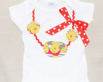 Girl Winnie the Pooh shirt, Pooh Bear birthday bodysuit, Winnie the Pooh necklace, 1st 2nd 3rd 4th 5th 6th, Winnie the Pooh outfit,