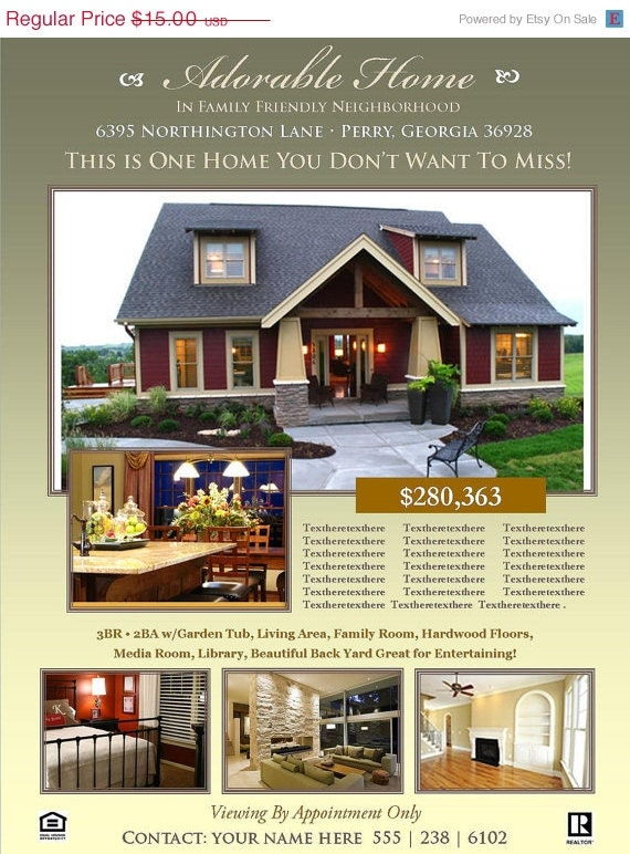 real estate flyer template microsoft by scripturewallart on etsy