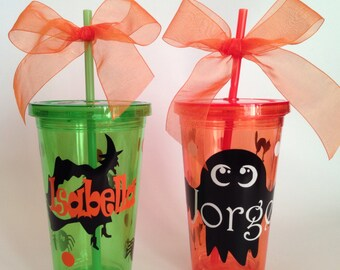 Halloween Personalized 16oz. tumbler/ Witch or Ghost/ Acrylic Tumbler