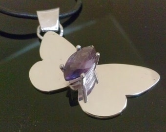 Butterfly  Amethyst Pendant handmade with Sterling Silver and Lavender Gemstone,  using as Necklace, fashion jewelry