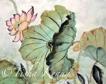 Lotus & Leaves XI  ORIGINAL ART Asian Brush Painting on Rice Paper