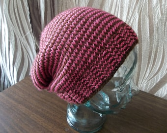 Knit Striped Slouchy Beanie Hat