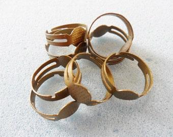 8 adjustable ring blanks - bronze tone ring blanks - 8mm ring pad - 17mm diameter - bronze tone adjustable ring blank