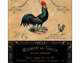 French Country Rooster - Rooster Art Print - 8x10 Print - French Country Style - Cottage Style Decor - Kitchen Decor