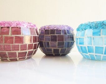 Crystal Pop Candle Holders in Pink, Purple, or Blue-stained glass mosaic candle holder, votive, party centerpiece