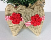 Heart shaped twine wrapped ornament with red and white gingham ribbon trim and satin red rosettes - simpleandsass