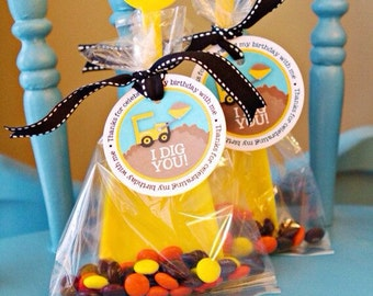 1 Dozen I Dig U - Birthday Shovels, Cellophane bags & Tagged Themed with Candy