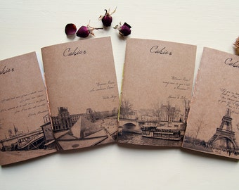 From Paris with love set notebooks, handmade journal, recycled paper  eco friendly