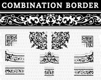 Vector EPS Illustrator Symbols Library Border Characters DIY Ornamental Frames for Graphic Artists Designers Vintage Clip Art - Sale C02