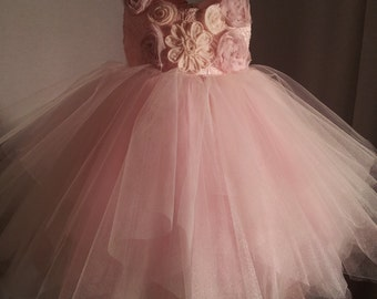Flowergirl Dress in Multi Layer Tuille with  uneven Hem.  Fluffy and Airy with Full skirts.