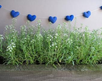 Wedding pennant banner -  Heart garland - Heart banner - Blue - Nursery decor - Birthday decor