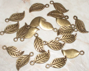 10 Antiqued Bronze Small  Leaf Charms