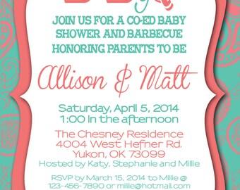 Custom BABY Q shower invitation, baby shower invitation, JPEG only, print yourself