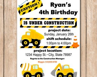 Dump Truck Birthday Invitation - Construction, Builder - 1.00 each printed or 10.00 DIY file