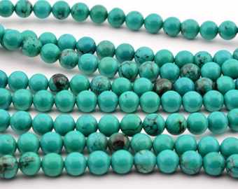 "15.5""  6mm  Green  Turquoise  Round  Beads ,  GREEN  TURQUOISE  GEM"