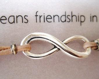 Infinity Symbol - Friendship Bracelet - Leather Infinity Bracelet - Modern Rustic Everyday - Favor, Gift