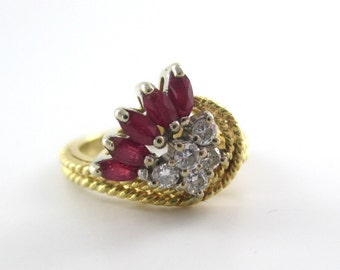 14K Solid  Yellow Gold Cable  Ring with Diamonds & Rubies