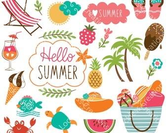 Summer Elements Digital Clip Art (Instant Download)