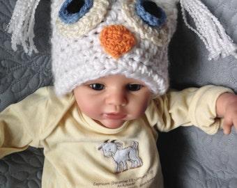 baby white owl hat winter halloween prop