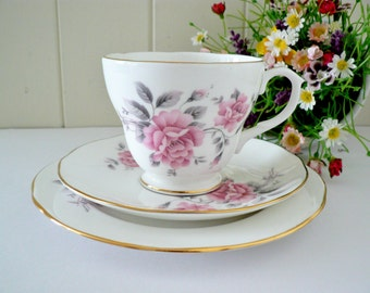Duchess vintage 1980's rose pink tea trio, Pink rose teacup,Pink and white cup,Pink rose cup,Duchess china, Floral pink teacup,