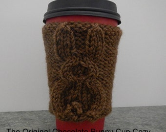 Cup Cozy, Coffee Cozy, PDF 127 Knitting Pattern to Make The Original Chocolate Bunny Rabbit Cup Cozy