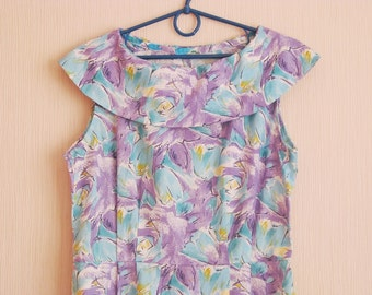 Unused Vintage Cotton Summer Floral Print Dress -purple, turquoise, blue dress made in USSR