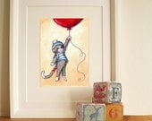 Nursery Art- Cute Sock Monkey and Red Balloon- art print - JennyDaleDesigns