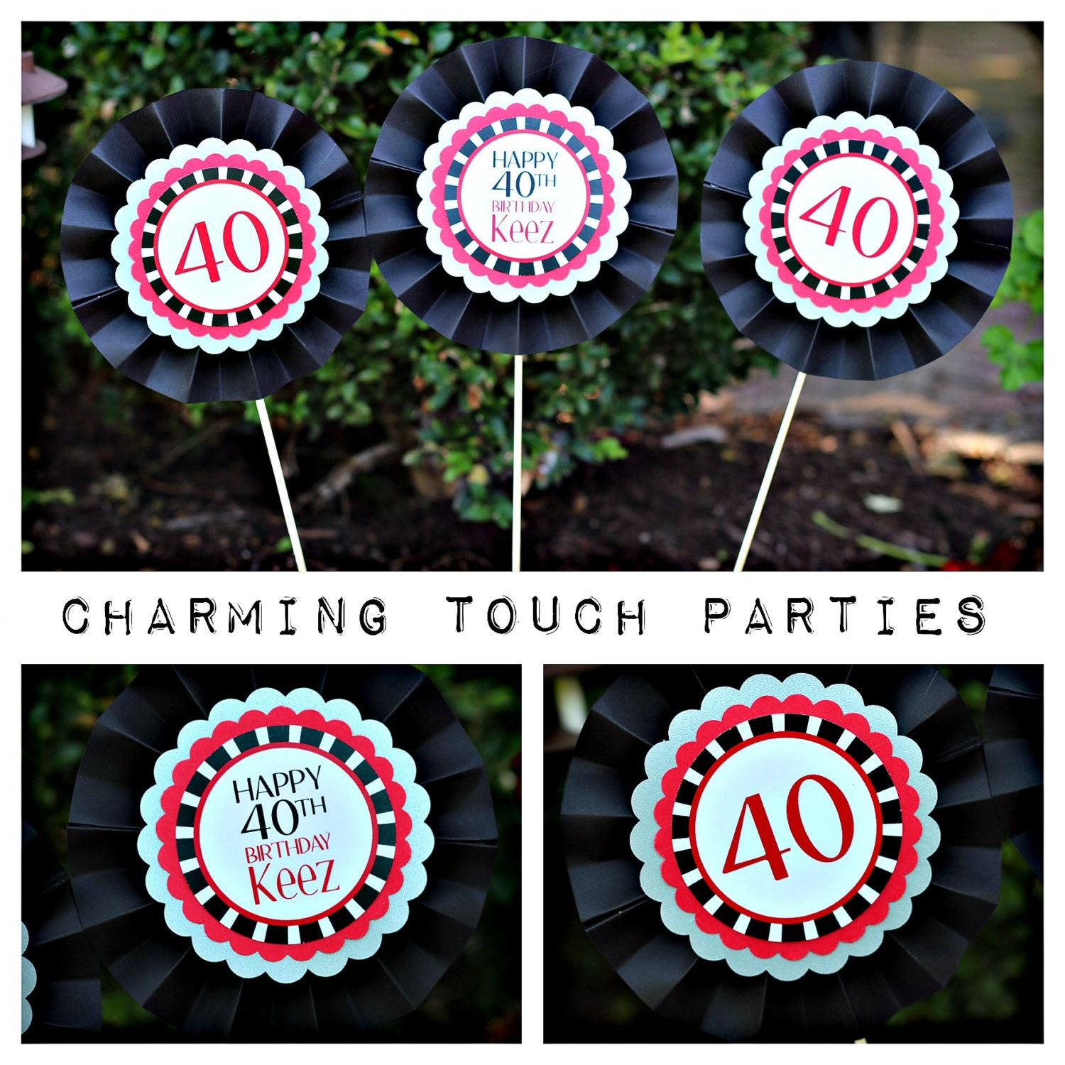 40th birthday party decor black silver and red centerpiece for 40th birthday decoration packs
