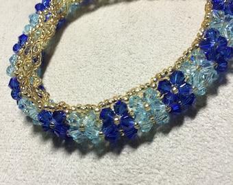 Dark and Light Blue Crystal Bracelet