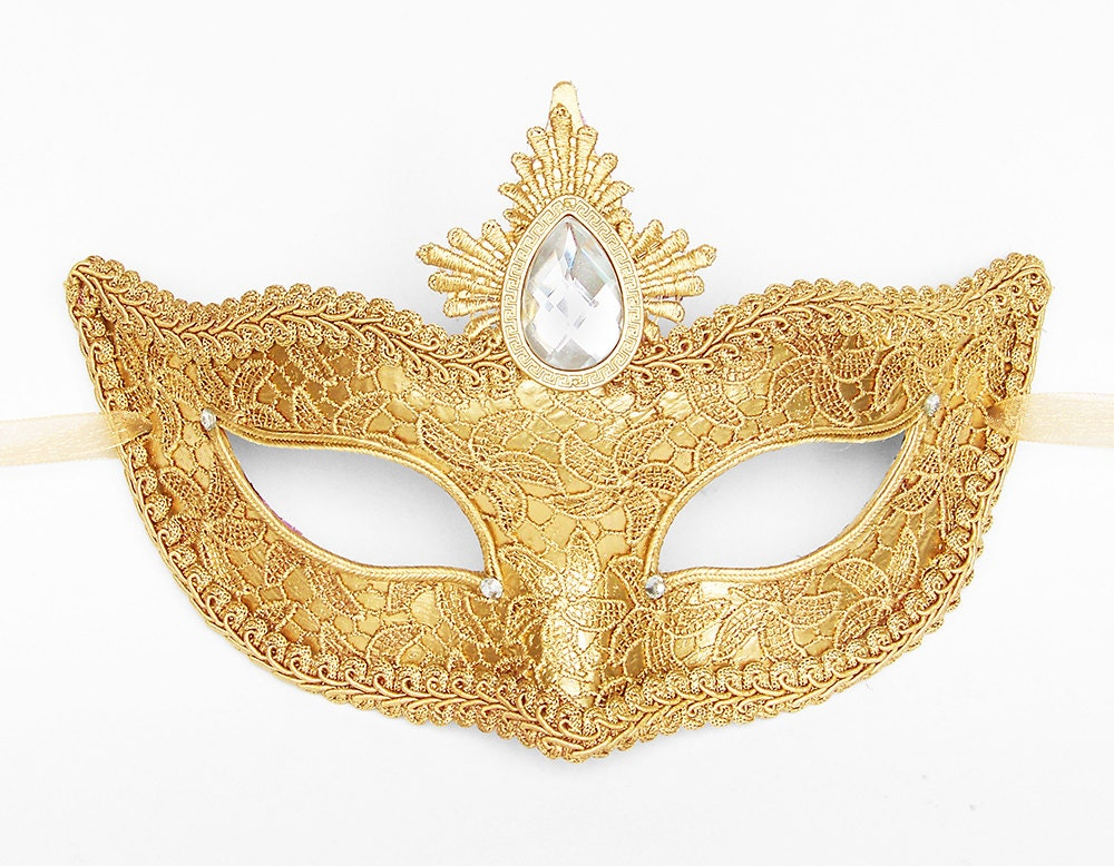 Gold Lace Masquerade Mask Venetian Style Halloween Mask With