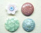 3 Pottery Cabachons Plus A Glass Flower Bead or Charm