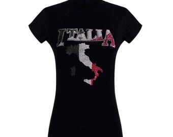 ITALIA MAP Rhinestone Embellished T-Shirts