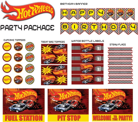 Hot wheels party packageinstant download by trulymarvelous on etsy