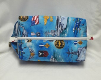 Navy Military Boxy Knitting or Crochet Project Bag, Cosmetic Pouch, Ditty bag, Large boxy bag, Shaving Kit Toiletry Bag, Diaper bag pouch