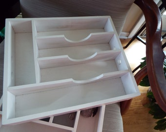 Shabby chic wooden painted utensil holder tray display box kitchen storage