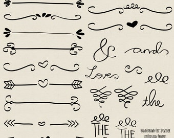 Hand drawn doodle text divider swirly clip art for scrapbooking wedding invitation commercial use instant download