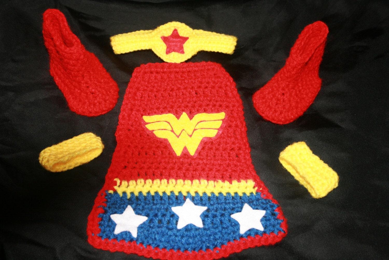 Free Crochet Pattern Baby Capelet : 4 piece wonder woman crochet set hat cape wrist by LGCrochet