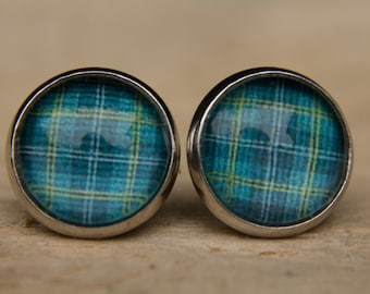 Tartan Earrings, Tartan Studs, Glass Dome Earrings, Glass Dome Studs, Gifts for Her, Simple Earrings, Everyday Jewellery, Blue Earrings