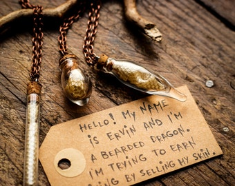 Bearded Dragon Lizard Reptile Skin Bottle Jewellery Necklace Pendant Charm