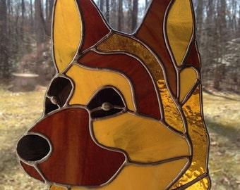 Stained Glass German Shepherd Head
