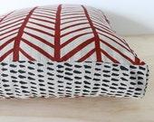 Herringbone Red/ Brushstroke Black 45cm x 45cm box cushion - Hand screen printed