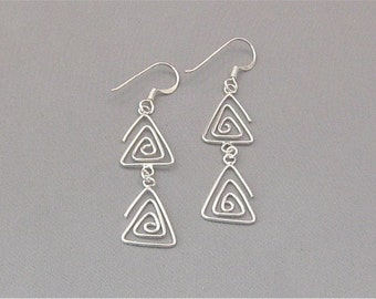 Sterling Silver Wire Double Triangle Earrings