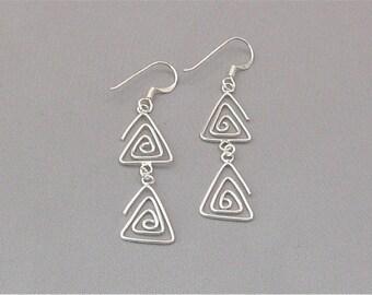 Sterling Silver Wire Double Triangle Earrings