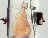 Cat and mouse,  Journal or sketch book with blank pages original watercolour cover one of a kind