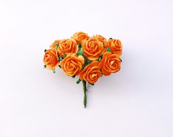 Paper Flower, 50Mini rose, Medium, Orange color.