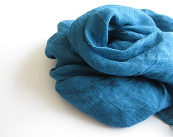 Natural linen scarf-  women- kids- teal color scarf - summer accessories- holidays fashion trends- gauze linen scarf