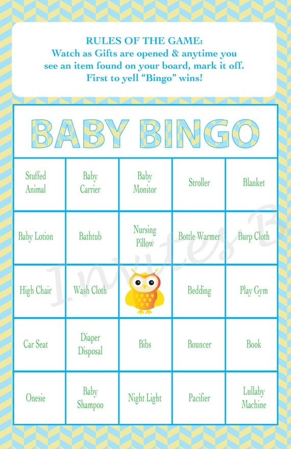 baby shower bingo game owl theme girl or boy instant download set of